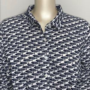 Crown & ivy fish 🐟 print long sleeve blouse.